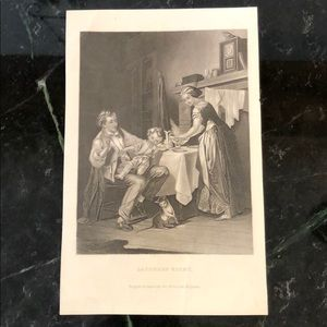 "Saturday Night - 8.75"" x 5.5"" - Antique Engraving"